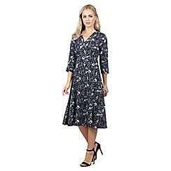 Izabel London - Navy floral print midi dress