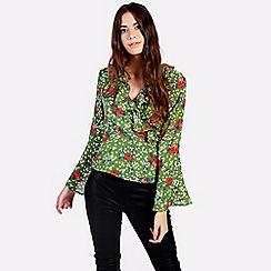 Amalie & Amber - Green wrap blouse