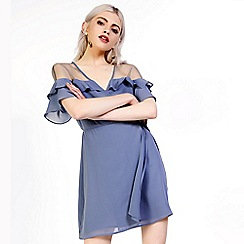 Amalie & Amber - Blue mini wrap dress