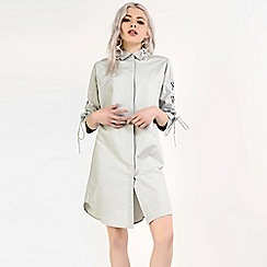 Amalie & Amber - Grey lace up shirt dress