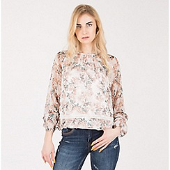 Amalie & Amber - Cream floral long sleeve blouse