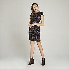 Apricot - Black ornate floral print bodycon dress