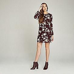 Apricot - Maroon floral print long sleeve dress