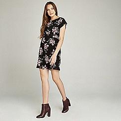 Apricot - Black painterly floral print tie back dress
