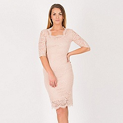 Feverfish - Peach lace sweetheart neck dress
