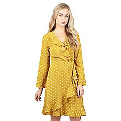 Izabel London - Yellow front frilled spotted wrap dress