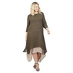 Izabel London Curve - Khaki layered asymmetric dress