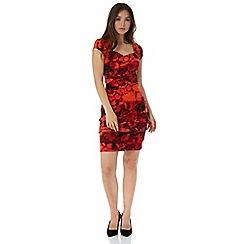 Roman Originals - Red abstract pleat dress