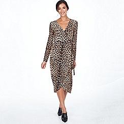 Blue Vanilla - Brown leopard wrap dip back midi dress