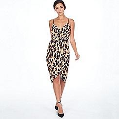 Blue Vanilla - Brown leopard wrap front slip dress