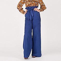 MISSTRUTH - Blue faux suede wide leg trousers
