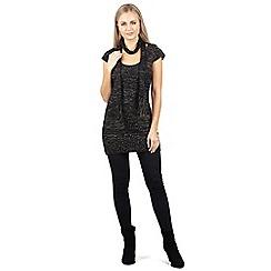 Izabel London - Black round neck with scarf tunic dress