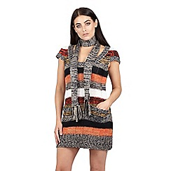 Izabel London - Multi striped tunic dress with scarf