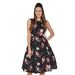 Lady Vintage - Black baroque roses hepburn dress