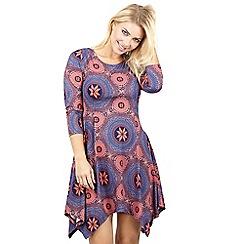 Izabel London - Blue asymmetric hem printed tunic dress