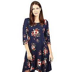 Izabel London - Navy floral print asymmetric dress