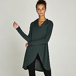 Apricot - Green zip shoulder wrap over cardigan