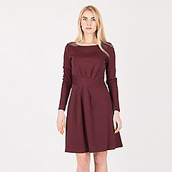 Anna Field - Maroon belt look detail long sleeve dress