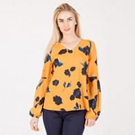 8e6b2277920a03 Arrae Mustard floral peplum frill cuff blouse