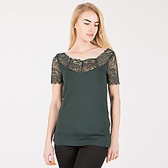 Anna Field - Dark green lace neckline top