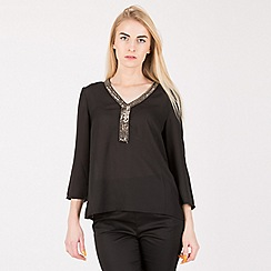 Anna Field - Black embroidered neck blouse f9ee09e359
