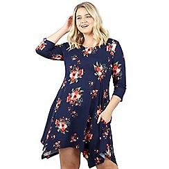 Izabel London Curve - Navy floral printed asymmetric dress
