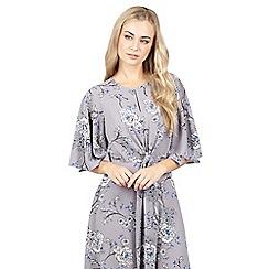 Izabel London - Grey tie front ruffle sleeve dress