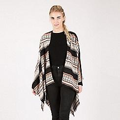 Urban Mist - Multicoloured stripe blanket cape