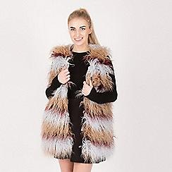 Urban Mist - Multicoloured shaggy faux fur gilet