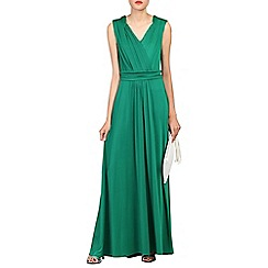 Jolie Moi - Green plunge wrap front maxi dress