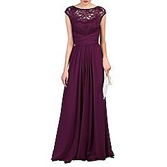Jolie Moi - Maroon lace bodice maxi prom dress