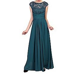 Jolie Moi - Turquoise lace bodice maxi prom dress