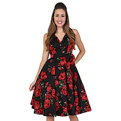 Lady Vintage - Black rose & leaf dorothy dress