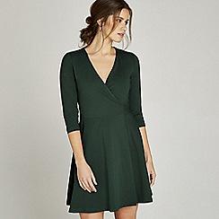 Apricot - Green cotton v neck wrap dress