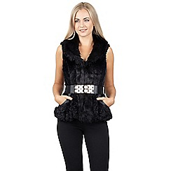 Izabel London - Black fur vest with belt