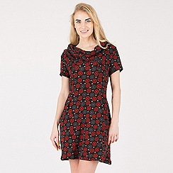 Tenki - Multicoloured cowl neck floral patterned tunic dress