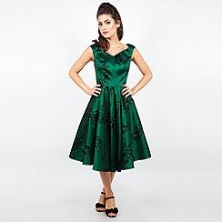 Voodoo Vixen - Green lily taffeta flared dress