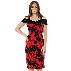 Roman Originals - Red flock cold shoulder dress