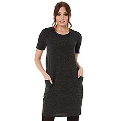 Roman Originals - Grey pu trim pocket dress
