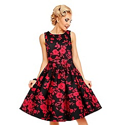 Dolly and Dotty - Black patent annie floral swing dress