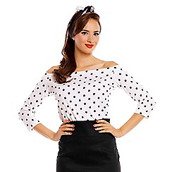 Dolly and Dotty - White gloria bardot long sleeve top