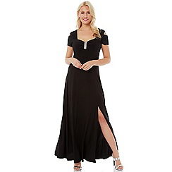 Roman Originals - Black diamante cold shoulder dress
