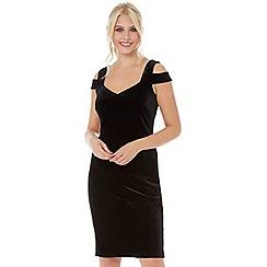 Roman Originals - Black velvet bardot dress