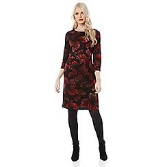 Roman Originals - Red floral ponte dress