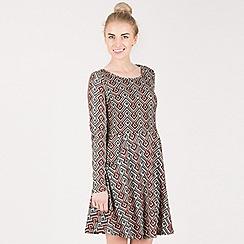 Tenki - Multicoloured full sleeve geo print tunic dress
