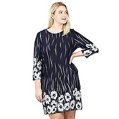 Izabel London Curve - Navy floral & border print tunic dress