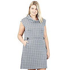 Izabel London Curve - Grey check print closed neck dress