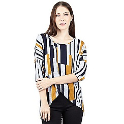 Izabel London - Mustard stripe print wrap top