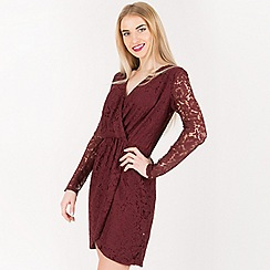 Blue Vanilla - Wine lace wrap dress