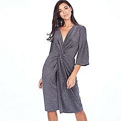 Blue Vanilla - Brown twist front metallic midi dress